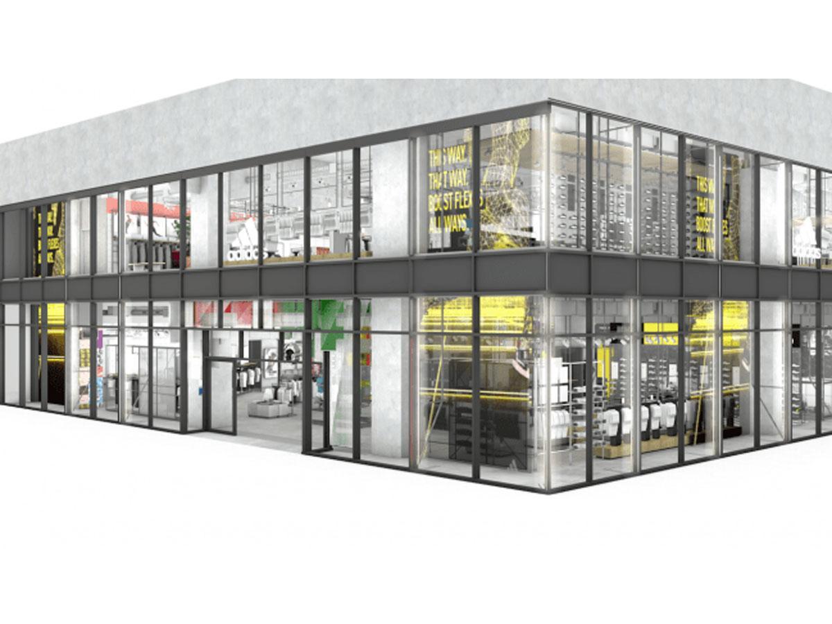 国内最大の直営店となる「アディダス ブランドセンター RAYARD MIYASHITA PARK」の外観イメージ