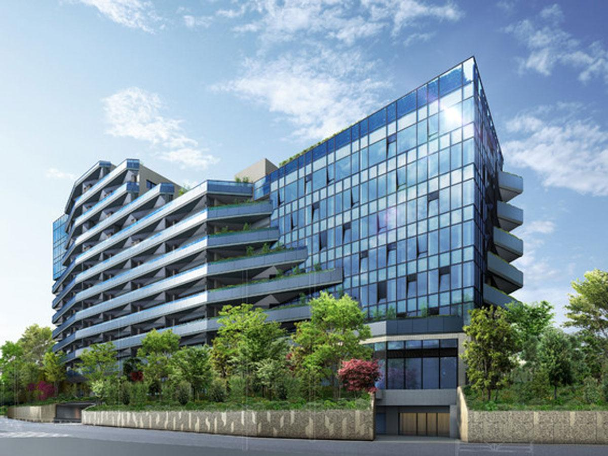 ホテル(写真右側の建物)や分譲住宅、保育施設などが入居する都市型複合施設の外観イメージ