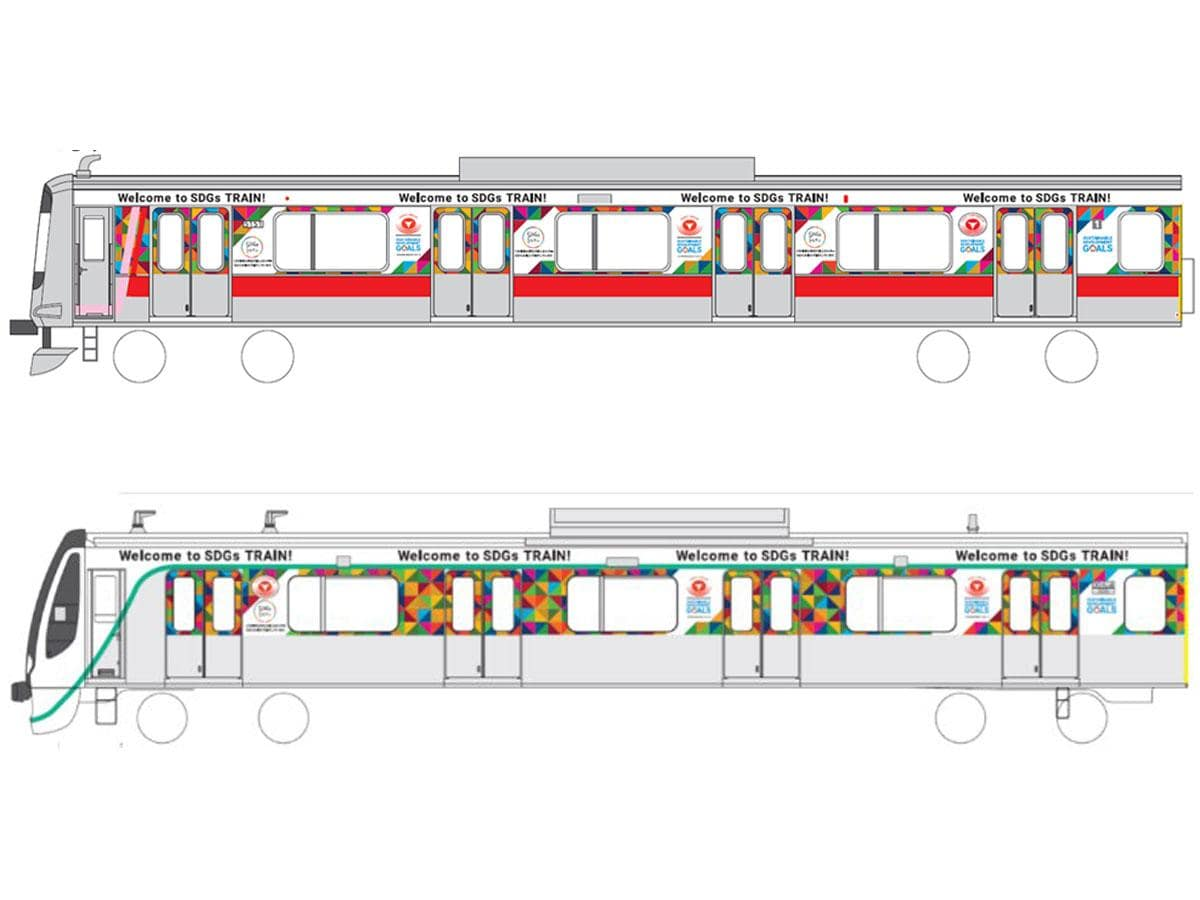 運行するSDGsトレイン(上が東横線、下が田園都市線)