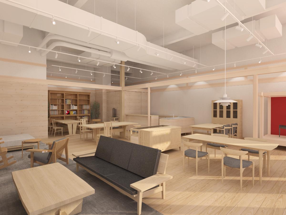 国産材を使う家具を展示する店内イメージ