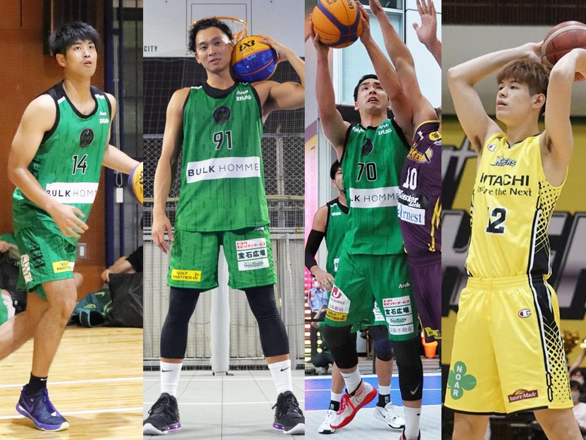 (左から)TOKYO DIMEの杉浦佑成選手、落合知也選手、小松昌弘選手、サンロッカーズ渋谷の西野曜選手