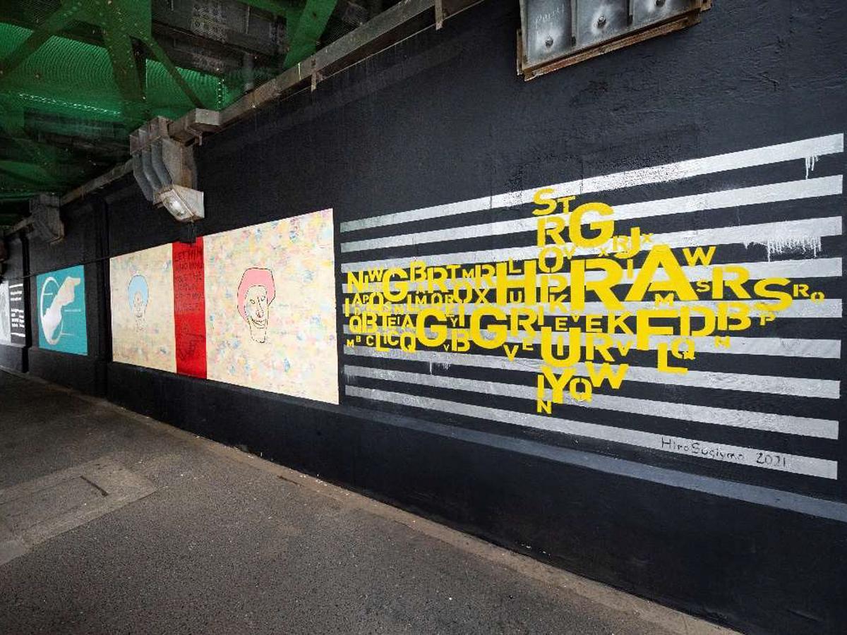 渋谷宇田川架道橋下に完成した新作の「矢印サイン」