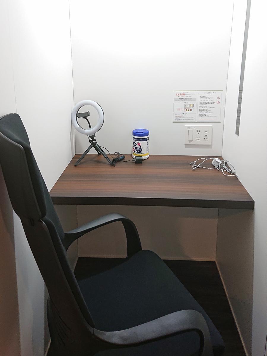 電源やリングライトなどを用意する1人用の防音個室