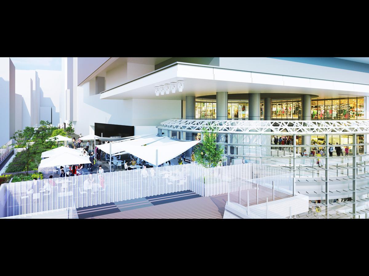 4階ヒカリエデッキ 渋谷駅方面から昼のイメージ