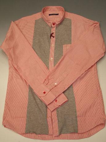 「ryu's denims RF011013(レッドストライプ)」(1万6,800円)。ストライプのシャツ生地とTシャツなどに使う天竺を組み合わせた珍しいタイプ