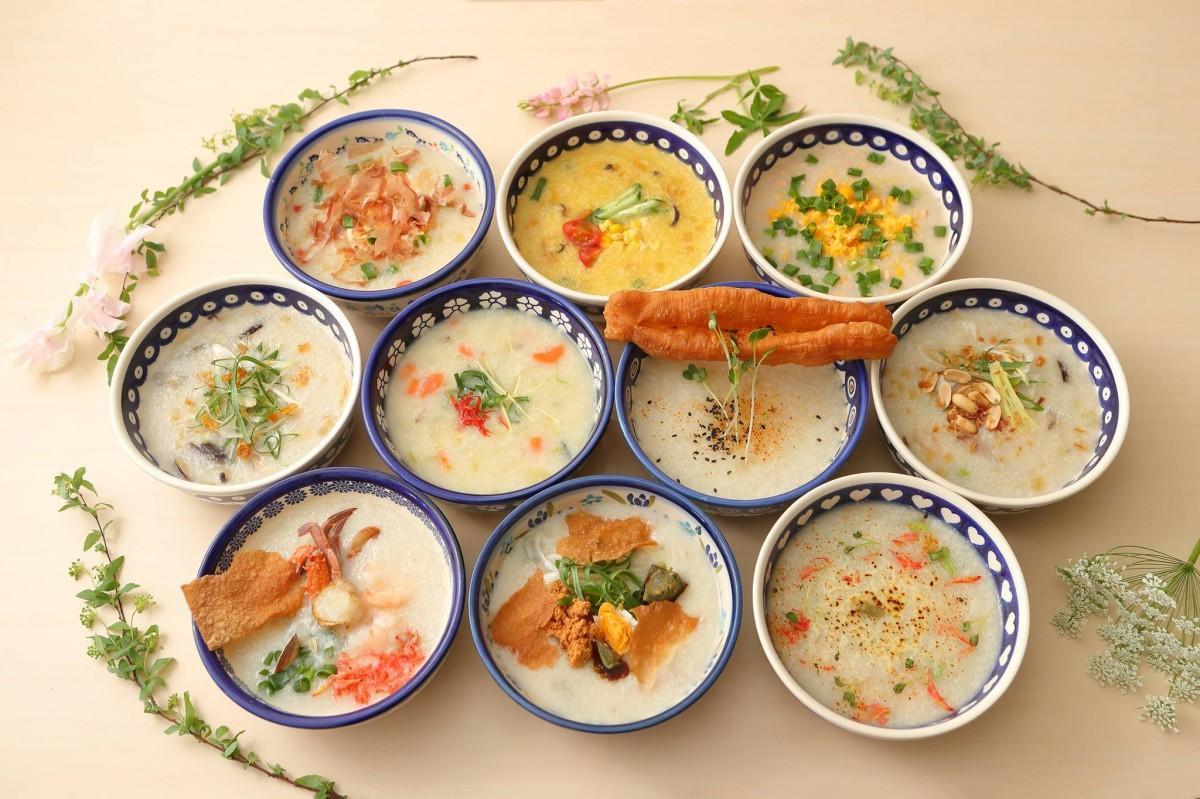 具沢山のこだわり香港粥は全10種類から選べる