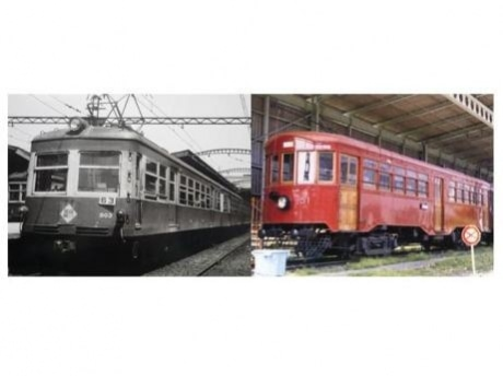 赤・黄の2色塗装時代の「500形」(左)と昭和53年に復元された「デ51形」(右)。