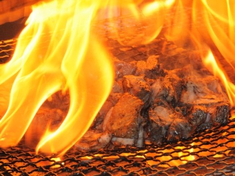 「日向鶏のモモ焼き」は、炭火焼きで豪快に調理する。歯応えのある「おや肉」と柔らかい「ひな肉」の2種類を用意。「ひな肉は女性人気が高い」(木村さん)という。