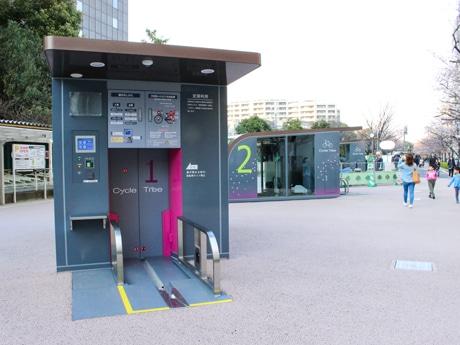 「大井水神公園」に完成した大型地下機械式駐輪場