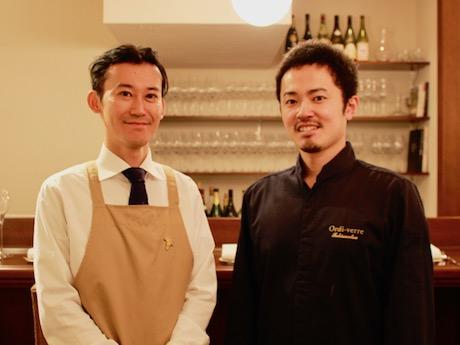 オーナーソムリエの戸田健太郎さん(左)とシェフの飛松裕之さん