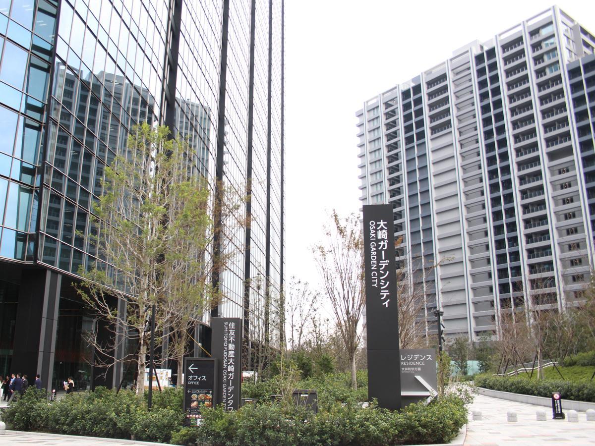 「大崎ガーデンシティ」外観。左がオフィス棟、右が住宅棟