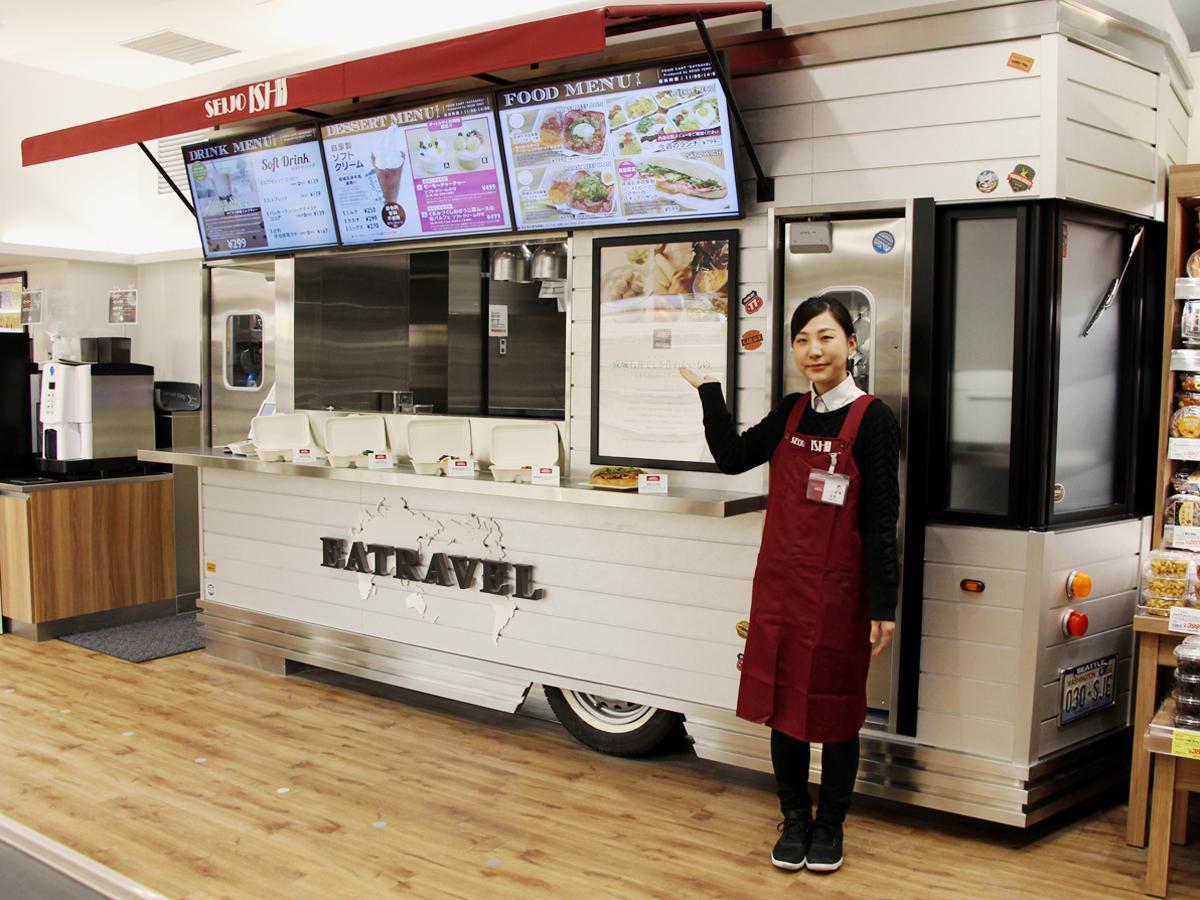 大崎ゲートシティ店内に設置した「フードカート風スタンド」