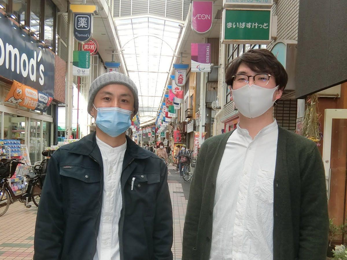 五反田バレー代表理事の中村岳人さん(右)と中延商店街振興組合の大庭雄策さん