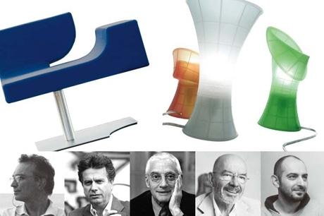 1930年代から国際的な地位を築いてきたロンバルディア州の家具産業の歴史と変遷を展示する「ロンバルディア100%デザイン」展。写真は参加デザイナーで左からカルロ・フォルコリー二さん、ジャンカルロ・ファッシーナさん(ともにLuceplan)、アレッサンドロ・メンディー二さん(Zanotta)、マリオ・ベリーニさん(B&B Italia)、フェルッチオ・ラリアーニさん(Emmemobili)
