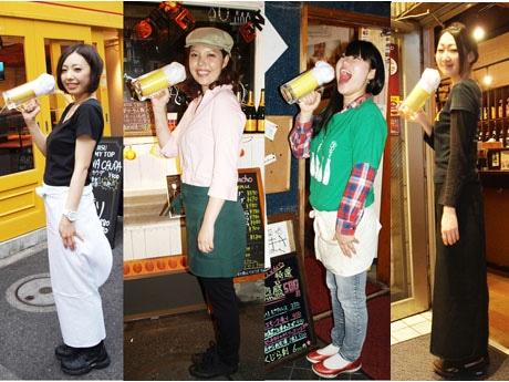 新橋参加店の女性スタッフによる「立ち飲みレディース」。イベント当日は、「彼女たちを探すミニイベントを開催する予定」(南事務局長)