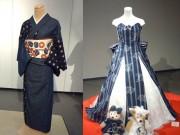 新橋の岡山県アンテナショップで「作州絣保存会作品展」 岡山デニムの着物も