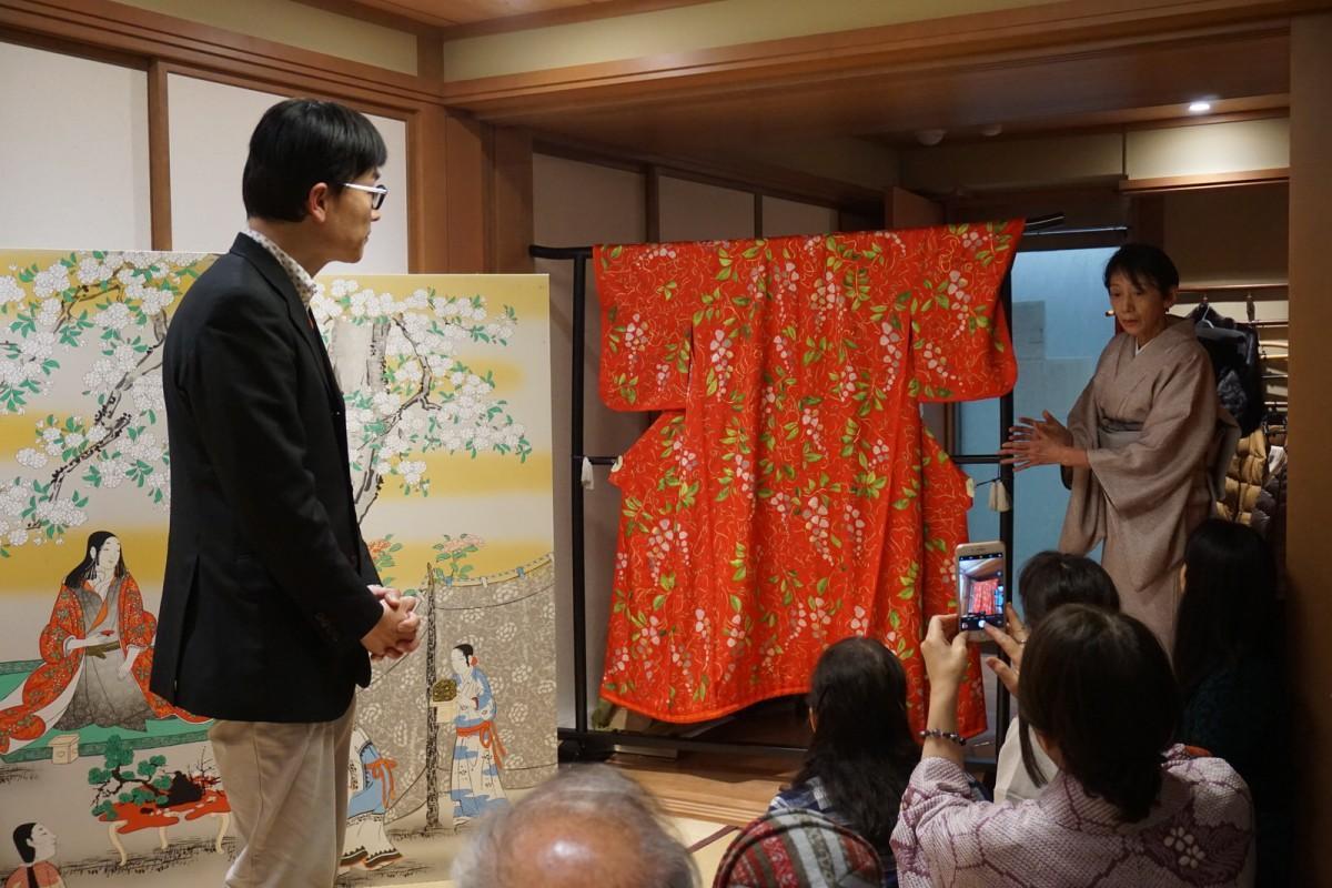 復元された「花下遊楽図屏風」と「淀殿」の着物