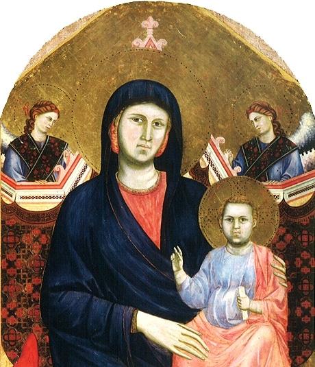 ジョットの1295年頃の作品「聖母子」。サント・ステーファノ・アル・ポンテ聖堂付属美術館蔵