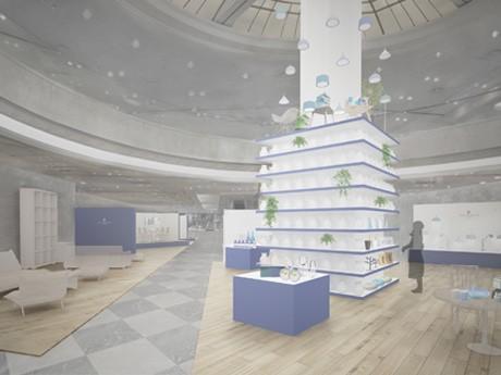 青と白を基調とした内装、明るい床材を使用した「開放感あふれるフロア」になる予定(写真=完成予定パース図)