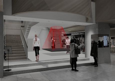 新宿ニュウマンの会場イメージ。設置されたヘッドセットを使ってアート作品を鑑賞する