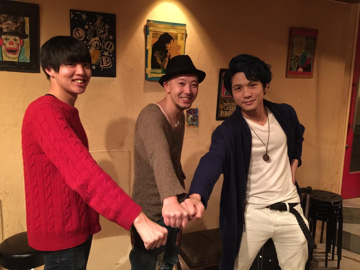 「東宿ON」に出演するアーティスト。左から西野剛史(RiNGO TONE)さん、松本圭史(BigSmile)さん、RJ(Sonic Blew)さん
