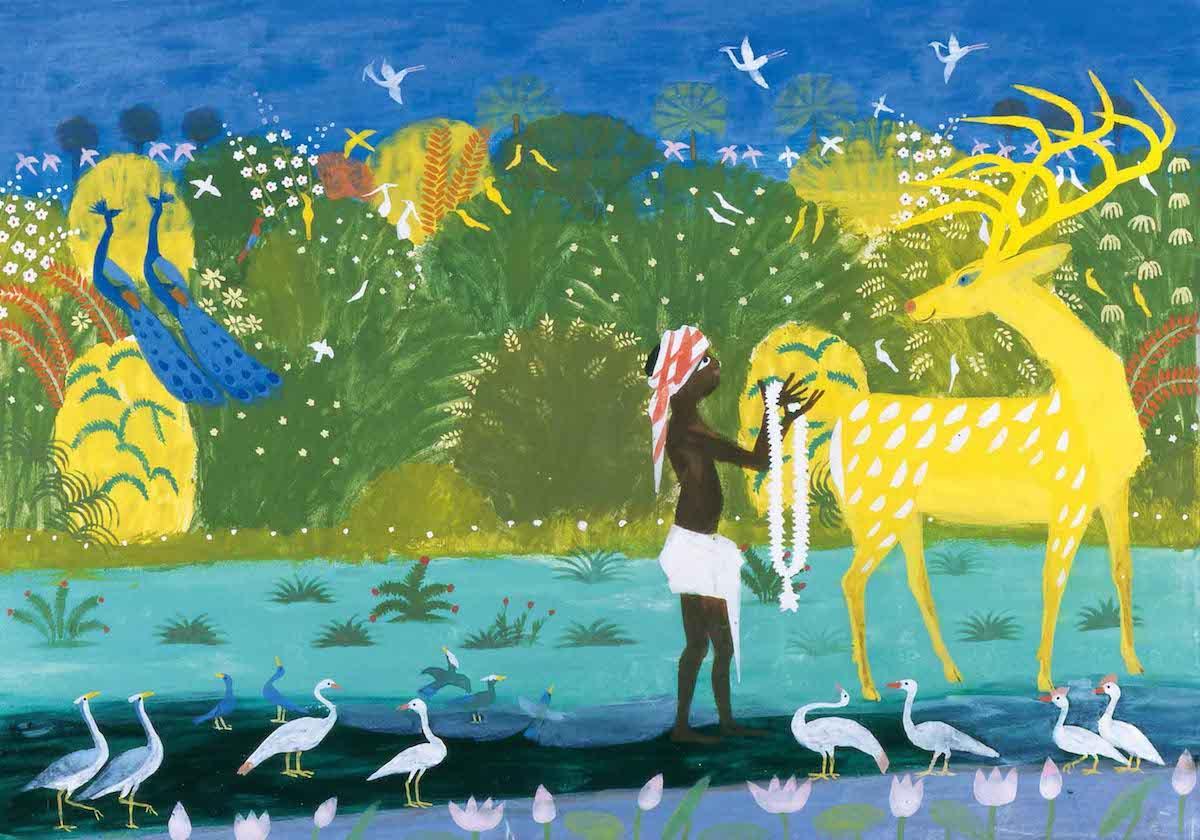 「きんいろのしか」 秋野不矩 1968(昭和43)年。「絵本にみる日本画」展示作品より