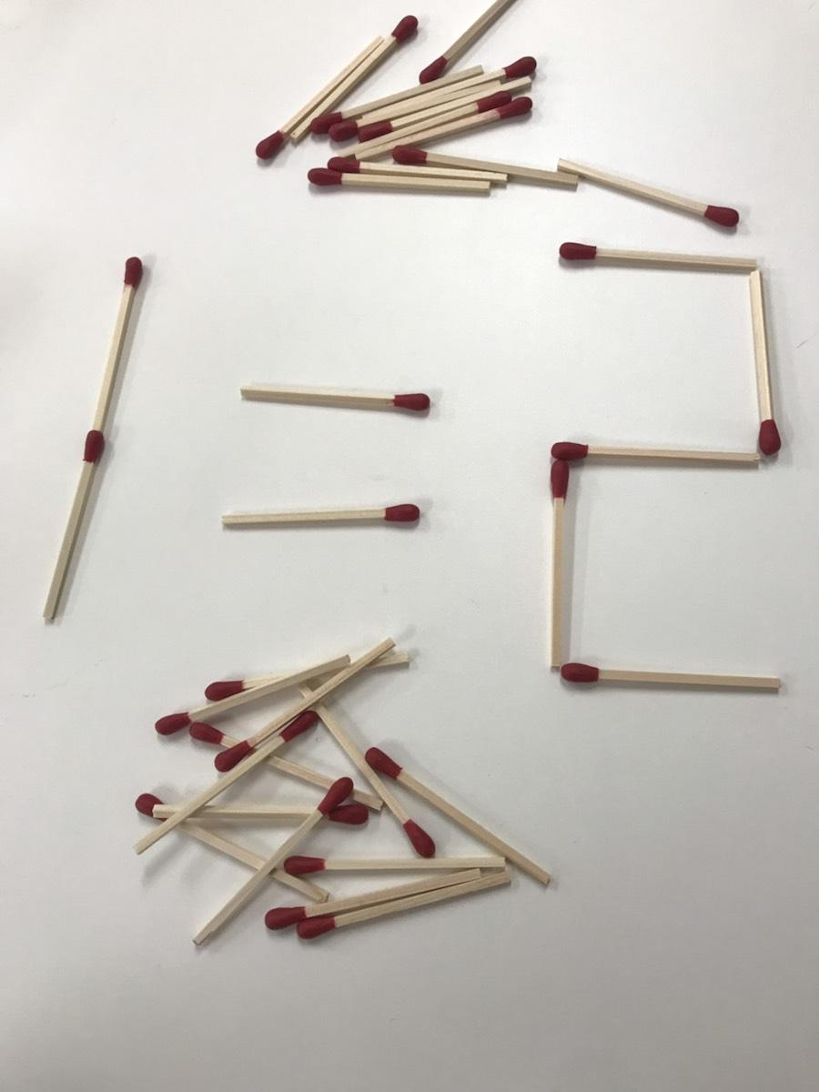 「さわれる謎展」でチャレンジできるマッチ棒パズル(イメージ)