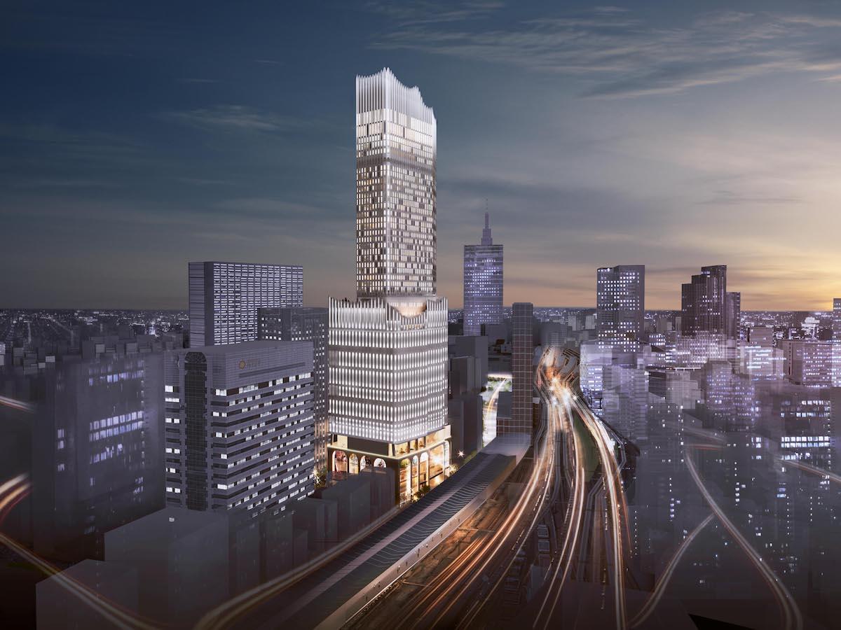 大久保方面(北西側)から見た外観イメージ。新しい歌舞伎町のシンボルとして、水とアーチをモチーフにした「女性的」で柔らかい形のデザイン (提供:東急電鉄・東急レクリエーション)