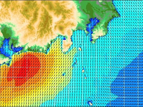 風向は矢印、風速を色別で表現している「Wave Hunter」の風向・風速予報データ