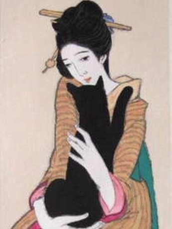 竹久夢二「黒船屋」(復刻木版画)