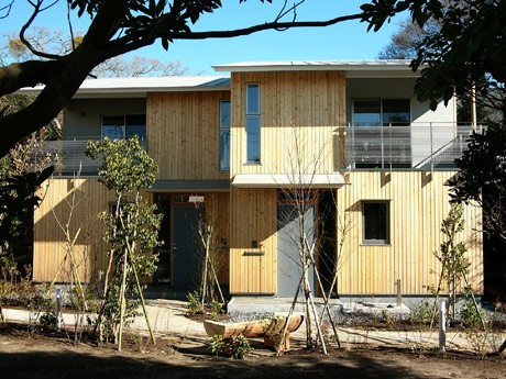 森山神社参道の樹木などを残し、土地と一体化した自然な風合いの賃貸住宅第1期が完成