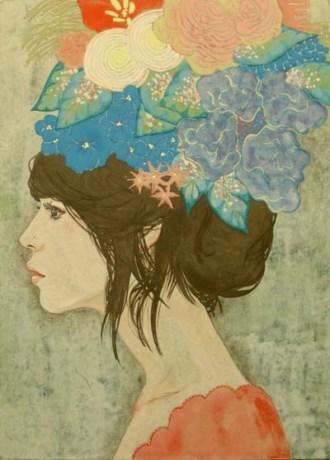 川畑絵さんによる美人画「akane」