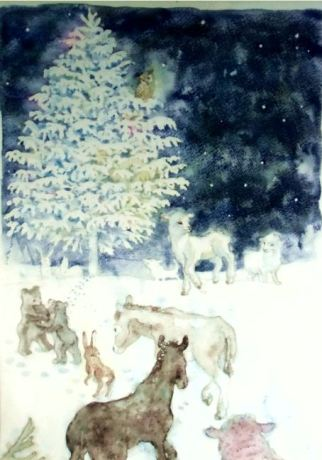 動物たちのクリスマスが描かれた作品「sanctuary」