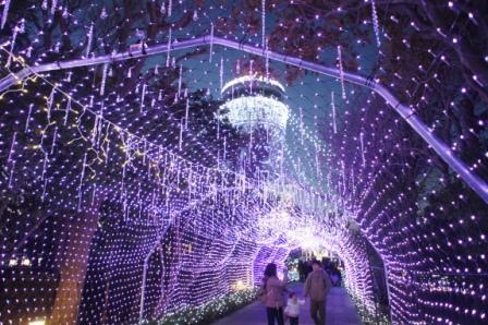 2万個のクリスタルビーズとイルミネーションによる光のトンネル
