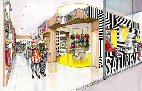 ブランドカラーであるイエローと、ブランドのアイコンであるサークルを基調としたつくりの店舗