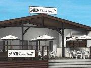鎌倉市由比ヶ浜の海岸にオープンした「SABON Beach House」(パース)