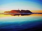「good morning」鵠沼海岸から見た朝焼けの江ノ島の絵