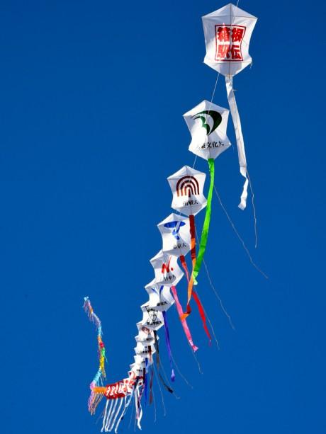 箱根駅伝参加校の校章が描かれた連だこが新年の青空に揚がった昨年の様子