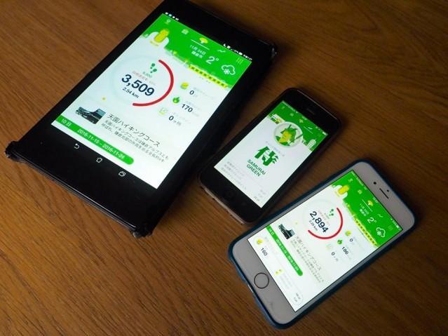 アプリの画面。獲得ポイントやチェックインした場所の数のほか歩数や距離も表示されるため、健康管理のツールとしても機能する