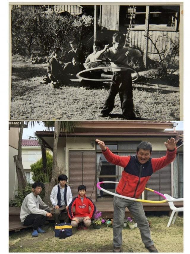古い写真と同じ場所を見つけて同じシーンを撮影する。フラフープで遊ぶ男性は同一人物