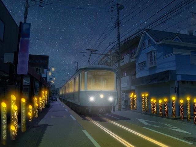 幻想的な光の中を江ノ電が走るのは2日間だけ。江ノ電ファンでなくても見逃せない光景(画像はイメージ。竹灯籠は私有地に設置)