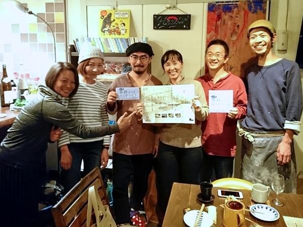 マップを企画制作したメンバーと仲間たち。ちょい飲みイベントで知り合った