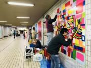 平塚北口駅前地下道がアートミュージアムに 落成式でライブペインティングも