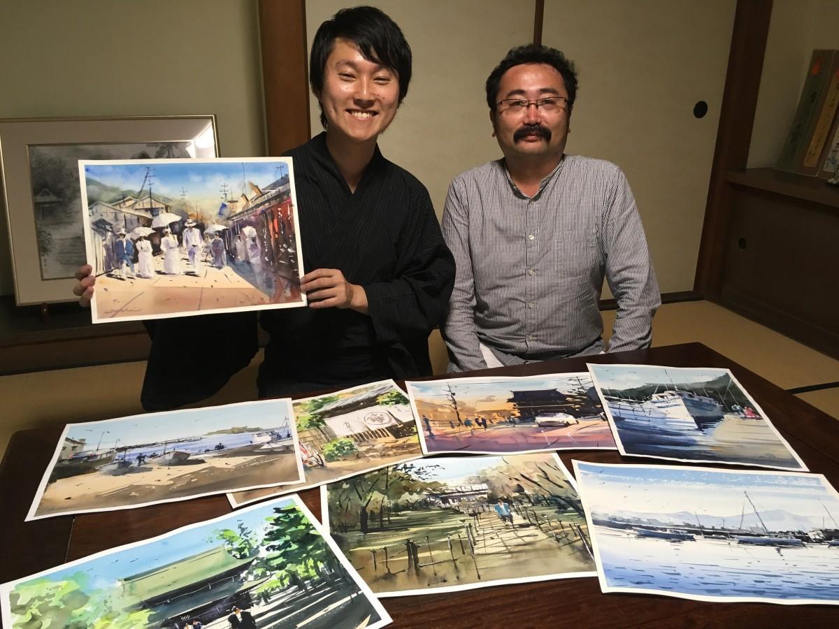 水彩画家の矢野さん(左)と大磯町観光協会の森川さん(右)