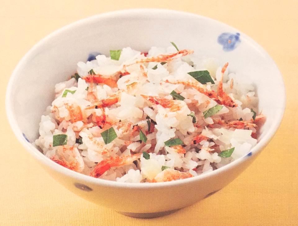 当日提供予定の桜エビと青ジソのまぜご飯