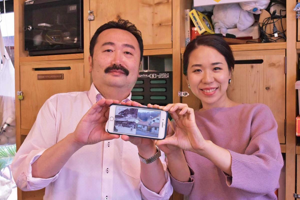 大磯今昔アプリナビゲーターの森川孝郎さん(左)と講師のMIWAKATOHさん(右)