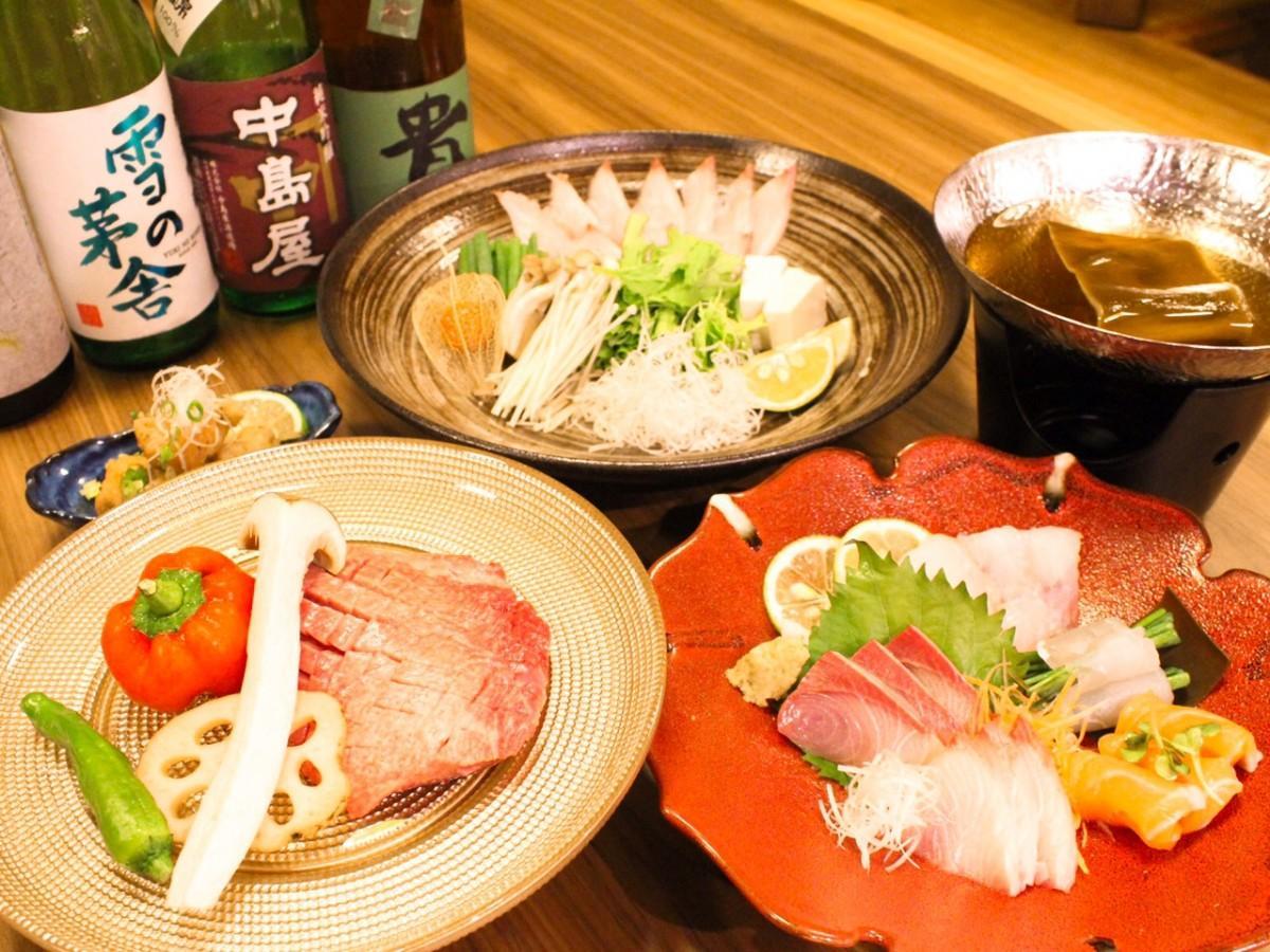 左から「牛タンの塩焼き」「刺身の盛り合わせ」、「寒ブリしゃぶしゃぶ」(奥)