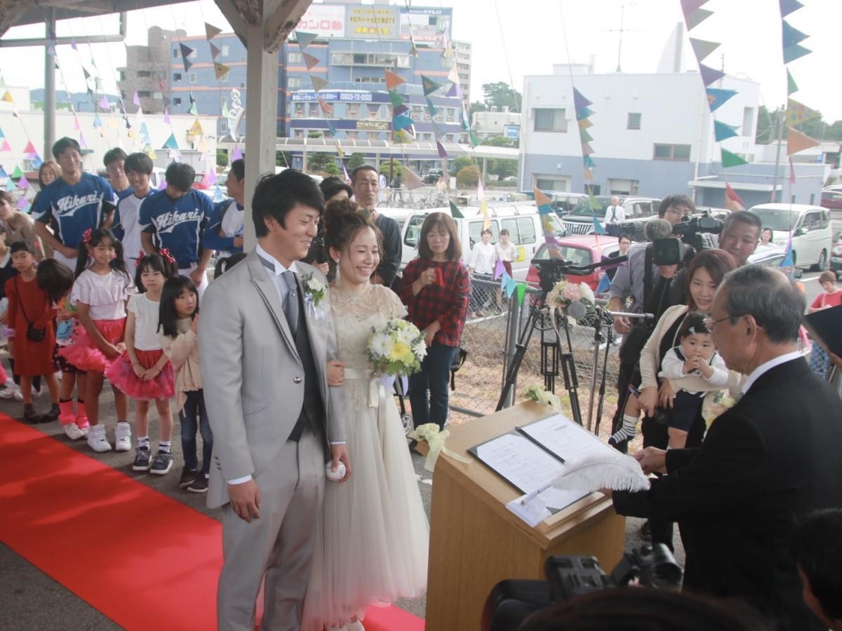 光駅での結婚式の様子
