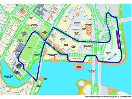 正式発表となったF1シンガポールGPのコース。(C)Copyright Urban Redevelopment Authority