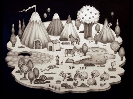 フラトンホテル内のギャラリー「iPRECIATION」でグループ展を開催する4人の日本人若手アーティストの1人、湯浅加奈子さんの作品「Dream World」(70 x 88cm、pencil on paper)